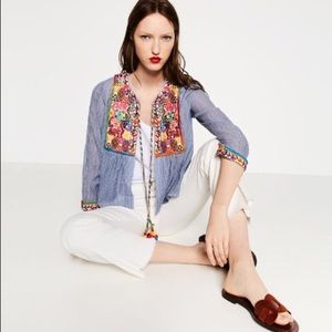 Zara Woman Embroidered Pin Stripe Jacket